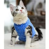 Sphynx Cat Clothes Winter Warm Faux Fur Sweater Outfit, Fashion high Collar Coat for Cats Pajamas for Cats and Small Dogs Apparel, Hairless cat Shirts Sweaters (L (7.7-9.9 lbs), Sky Blue)