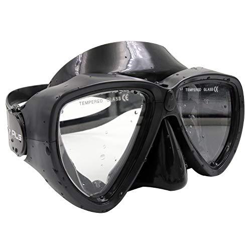 Dee Plus Professional Diving/Snorkelling Goggles Antivaho Vidrio Templado Gafas de natación para niños Unisex Diving/Snorkelling Mask,Mount for GoPro Camera Silicone - Negro, Bolsa Impermeable