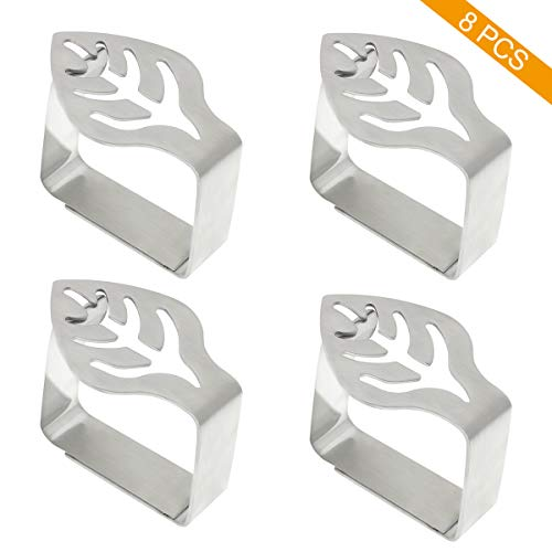 Coideal Decorative Table Cloth Clips 8 Pack Thickened Stainless Steel Tablecloth Clips Table Cover Clamps Holder for Outdoor Picnic BBQ Wedding DIY Party (Silver - Leaf)