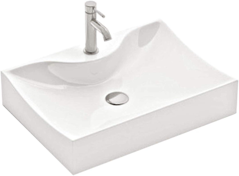 Gala Design Ceramic Wash Basin Wall-Mounted Basin 54.5 cm x 40 cm x 13 cm for Bathroom Guest Toilet