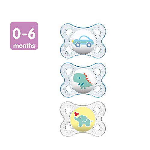 MAM Clear 06 Months Pacifiers Value Pack 3 Pack 06 Months Baby Boy Pacifiers Best Pacifier for Breastfed Babies