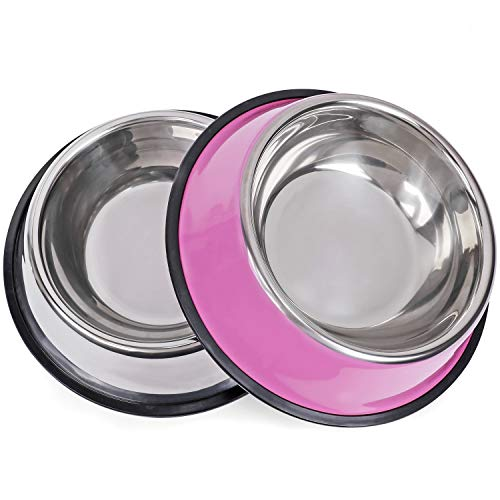 WHIPPY Stainless Steel Dog Food Bowl for Small,Medium and Large Pets Set of 2 (L, Pink+Silver)