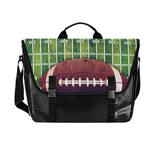 Grunge American Football Field Wasserdichte Canvas Leder Computer Laptop Tasche 15,6 Zoll Aktentasche Schultertasche mit gepolstertem verstellbarem Schultergurt