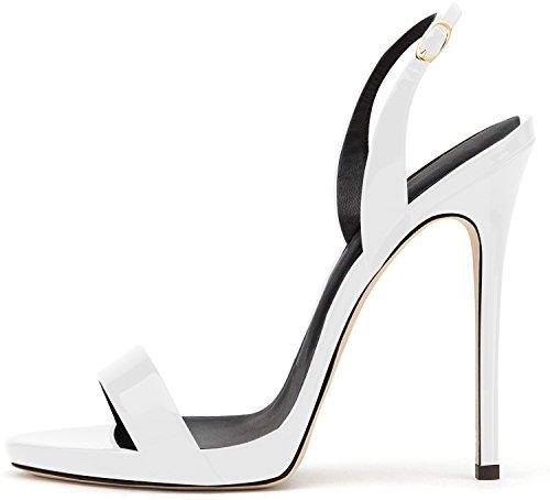 elashe- Scarpe da Donna - Sandali con Tacco Alto - 12CM Sandali- Sandali della Cintura della Caviglia Bianca EU37