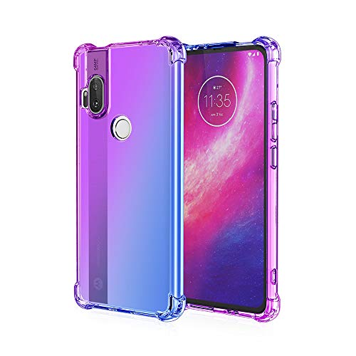 EasyLifeGo for Motorola One Hyper Case, Slim Shock Absorption Flexible TPU Soft Edge Bumper with Reinforced Corners Multicolor Gradient Protective Cover, Purple Blue