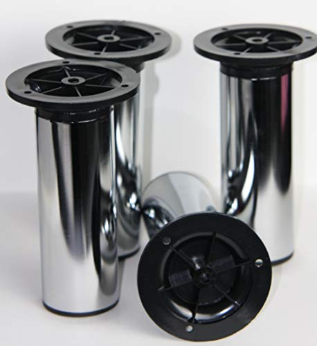 Keukenvoeten. Set van 4 - Chrome Design benen, verstelbaar 100mm.Keuken, Kast voeten.