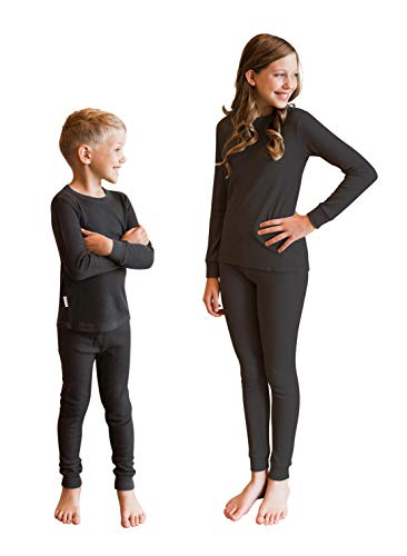 POPINJAY Bamboo Long John Set - Best Thermal Underwear Pajamas for Kids and Youth (Black, 5)