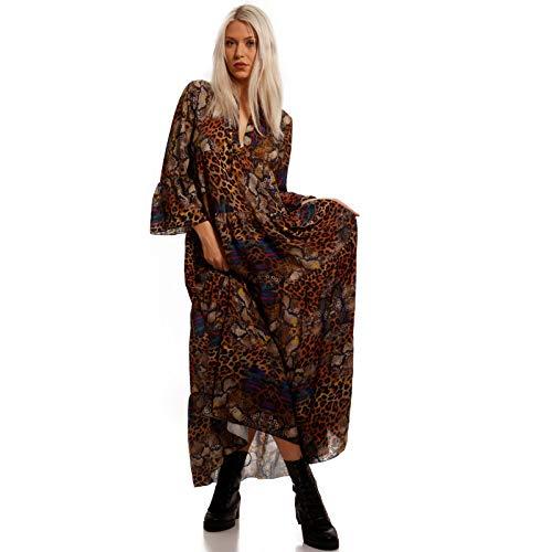 YC Fashion & Style Damen Boho Maxikleid Strandkleid Freizeit Sommer oder Herbstkleid Kleid Hippie Kleid Plus Size Made in Italy (One Size, Multicolour/Snake & Leo)