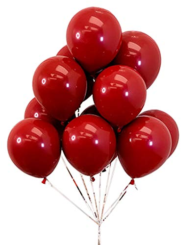 AnnoDeel 50pcs 10inch Red Ruby Latex Balloons, Red Round thick Ruby Double Latex Balloons for Love Bride Wedding Valentine Day Party Decoration Supply