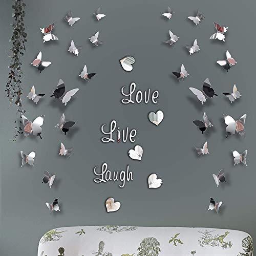 SGBETTER DIY Spiegel Schmetterling Aufkleber, Love Live Laugh Schmetterling Wand Buchstaben Schmetterling 3D Spiegel Wand Aufkleber Hause Dekoration Abziehbild (Silber)