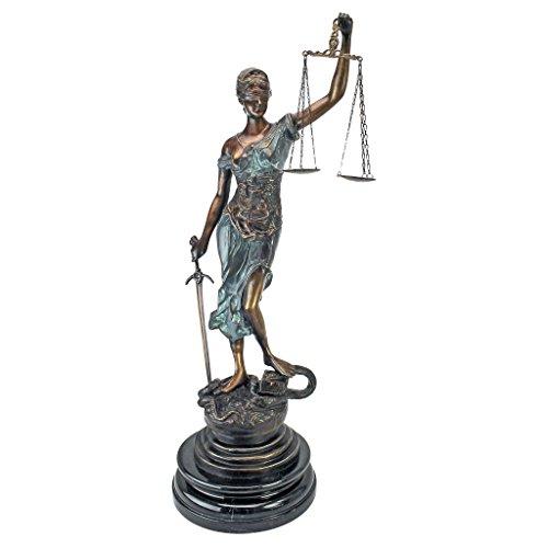 Design Toscano Themis Blind Justice Statue Plateau de Table, Bronze, 28 x 33 x 85 cm