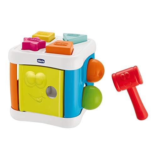 Chicco Multicubo 2en1-Juegos de Puzzle, Formas, Bolas y Martillo Juegos de encajables y contrucción para bebés, Multicolor (00009686000000)