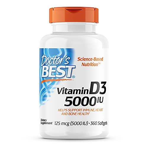 Doctor's Best Vitamin D3 5,000 IU for Healthy Bones, Teeth, Heart and Immune Support, Non-GMO, Gluten-Free, Soy Free, 360 Count (Pack of 1)