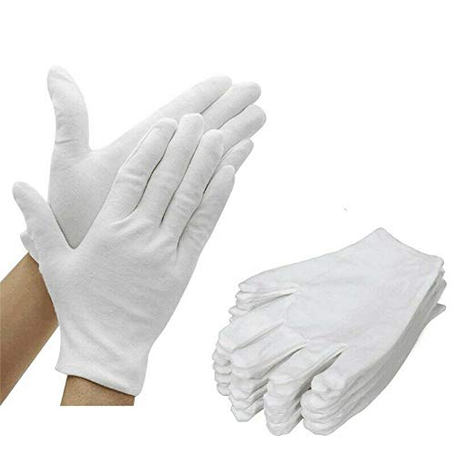 Gleader Lot de 12 Paires de Gants hydratants 100 % Coton Blanc