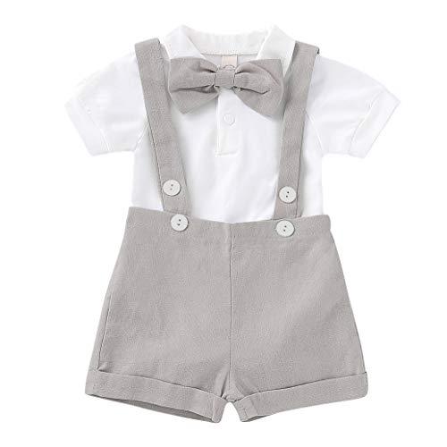 Cotrio Macacão infantil recém-nascido meninos macacões de uma peça para cavalheiros roupas para casamentos e aniversários Tamanho de batizado 6-12 meses cinza