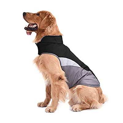 Tineer Reflective Vest Waterproof Pet Dog Puppy Outdoor Jacket Clothing Warm Winter Dogs Clothes Coat for Small Medium Large Vest Jacket Coat (M, Black)