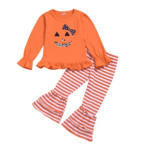 Great Features Of YKARITIANNA Toddler Baby Girls Halloween Smiling Long Sleeve Tops+Striped Bell-Bot...