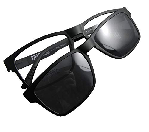 Circleperson Men Women Magnetic glasses polarized clip on sunshade RX-able 53-17 (Black, Polarized dark gray clip on)