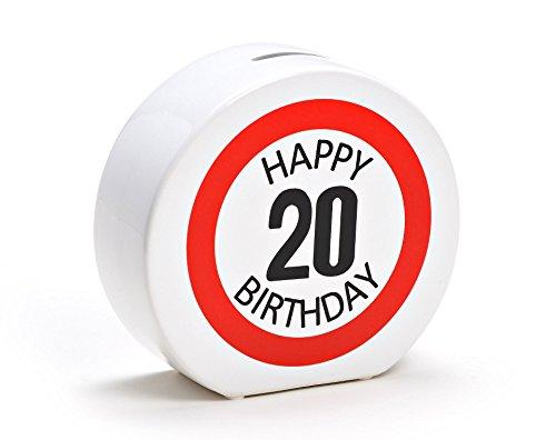 Spardose Geburtstag aus Keramik in 6 Varianten - Happy Birthday 20 - Geldgeschenk zum Geburtstag von WoMa - Weiß/Rot