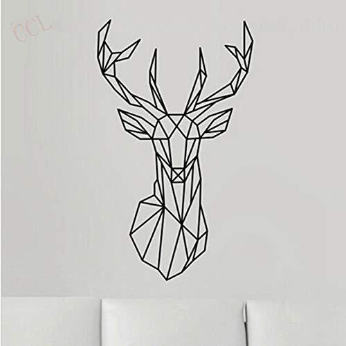 3D Wandkunst Geometric Deer Head Wandaufkleber Modern Home Decor Geometry Animal Series Abziehbilder A3 56x33cm