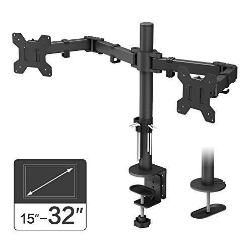 BONTEC Monitor Halterung 2 Monitore 15-32 Zoll Schwenkbar Neigbar Höhenverstellbar Monitor Schreibtisch Monitorhalterung Tisch Ständer Monitorständer Ergonomische – 10kg VESA 75/100 Schwarz