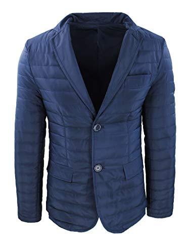 AK collezioni Giacca Piumino Uomo Casual Blu Scuro Giubbotto 100 Grammi Elegante Slim Fit (l)
