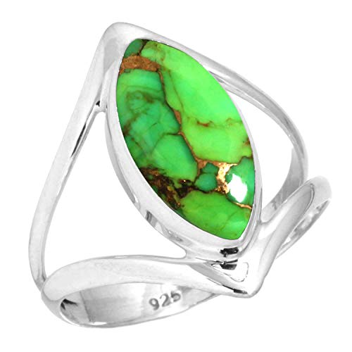 Copper Green Turquoise Women Jewelry 925 Sterling Silver Ring Size 11.5 (99100_CGT_R11.5)
