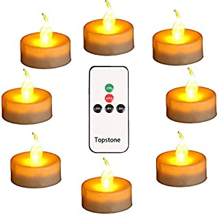 Topstone Led Tealight Candles with Remote and Timer,Warm Yellow Flameless Candles,Big Capacity Battery Operated Tea Light, ,Best for Wedding and Festival Decoration,Pack of 12