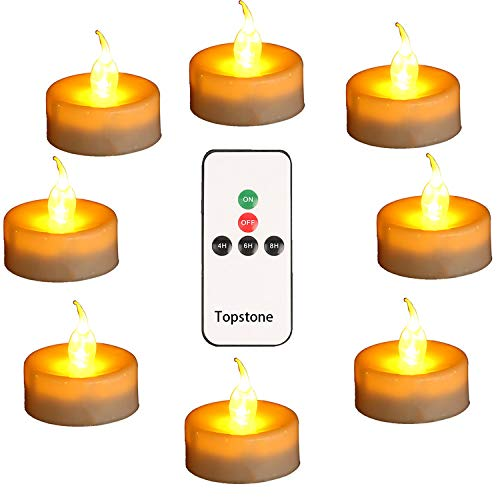 Topstone Led Tealight Candles with Remote and Timer,Warm Yellow Flameless Candles ,Big Capacity Battery Operated Tea Light, ,Best for Wedding and Festival Decoration,Pack of 12