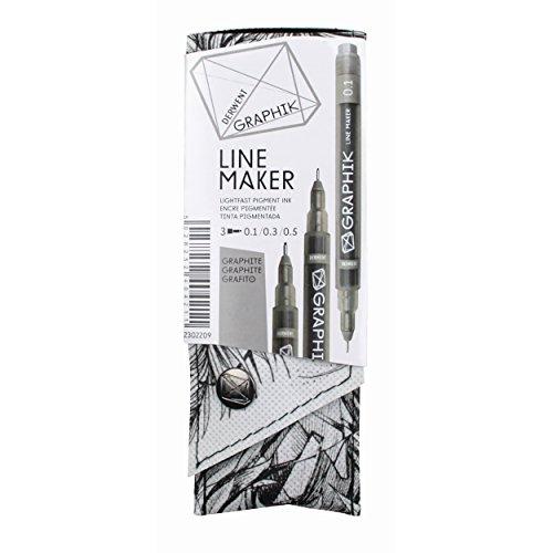 Derwent 2302-209 Graphite Pens, Graphik Line Maker Drawing Pens, Graphite, 3 Pack (2302209)