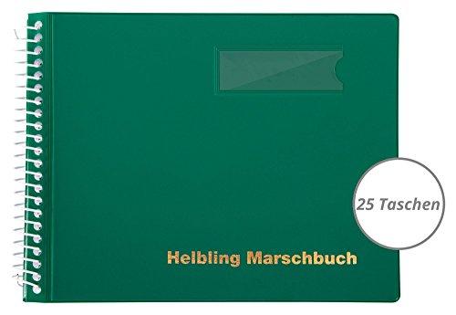 Helbling BMG25 Marschbuch (Notenbuch mit 25 blendfreien Klarsichthüllen, Umschlag aus flexiblem Kunststoff, bruchsichere Spiralbindung, wetterfest, Querformat: 18 x 14 cm) grün