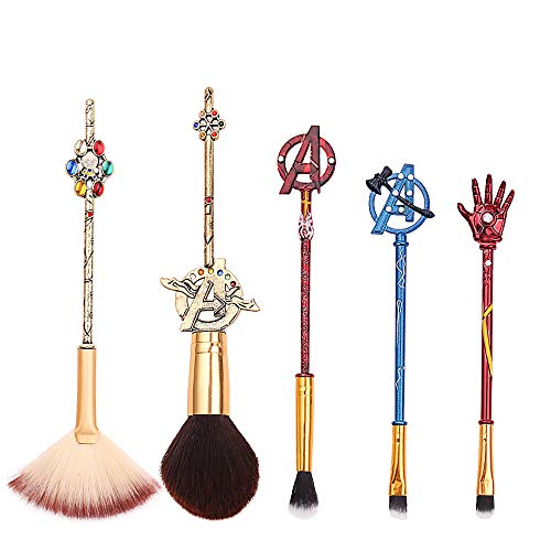 5Pcs Profession Avengers Makeup Brushes  Avengers Professional Cosmetic Brushes Foundation Blending Blush Eye Shadows Face Powder Fan Brushes Kit Perfect Gift for Marvel Fans 5pcs