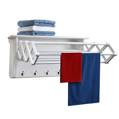 Danya B Accordion Clothes Drying Rack Retractable Wall Mounted Towel Rack and Hooks for Clothes and Towels for use in Laundry Room or Garage - White