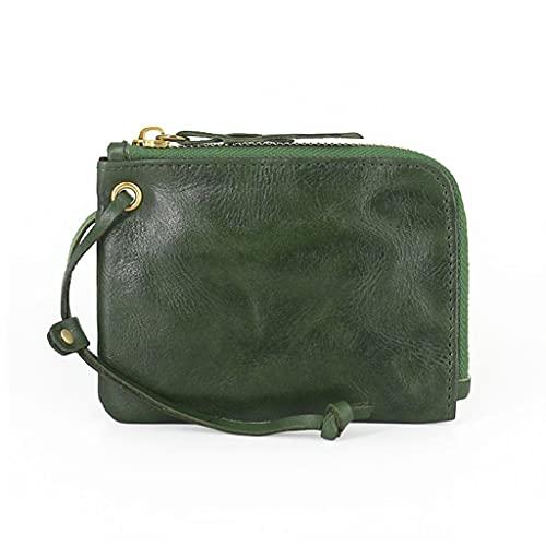 YQQMC Cartera pequeña de cuero para hombres, delgada y compacta tarjeta de crédito titular carteras organizador de monedas, bolsillo duradero (color verde)
