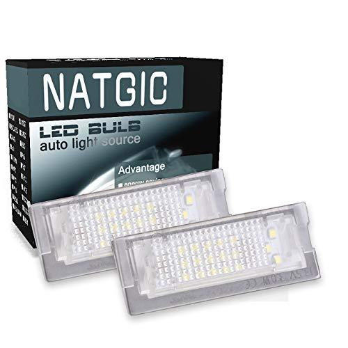 NATGIC Éclairage de Plaque d'immatriculation à LED 3528 Puces 24SMD Can-Bus Intégré Lampe de Plaque d'immatriculation à LED étanche pour E39 Touring 5Door 12V 3W - Blanc 6000K (Lot de 2)