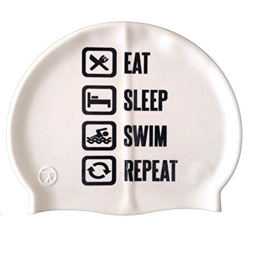 SWIMXWIN Cuffia in Silicone Repeat Bianco | Cuffia da Nuoto| Grande Comfort e aderenza | Design e Stile Italiano