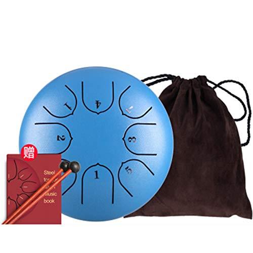 Qianyuyu Steel Tongue Drum 8 Notes 6 Zoll Percussion Instrument Handpan Drum mit Reisetasche, Mallets, Musikbuch, Fingerabdeckung,001