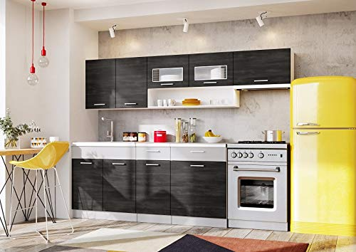 Muebles de Cocina Completa, 240 cms, Color Gris Ceniza y Platino, Modulos cocinas ref-18A