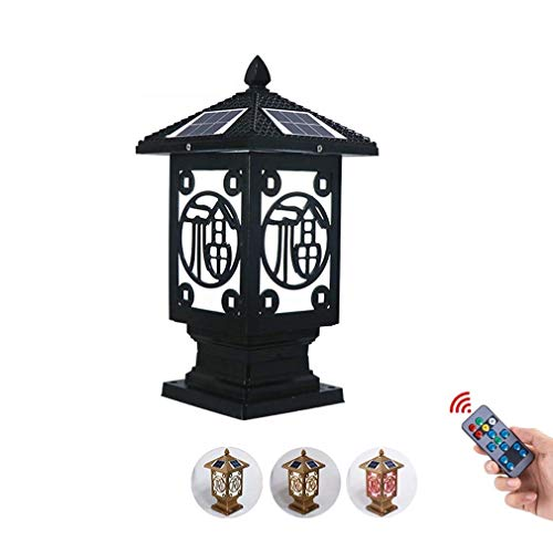 NESX 6x6 Solar-Pfostenkappen Lichter Tor LED-Pfosten-Lampe mit Fernbedienung Garten dekorative Landschaft Beleuchtung for Zäune, Innenhöfe, Familienhäuser, Tore (Color : Schwarz)