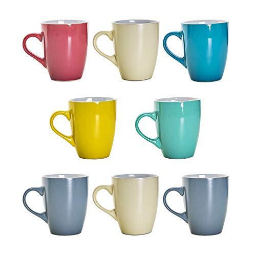 esto24 8 XL Kaffeebecher Set Keramik 340ml in 8 schönen Pastell Farben