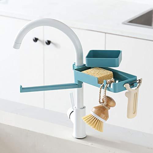 Bonbela Double-Layer-Drain-Gestell für Hahn-Rotating-Wannen-Abfluss Ständer Kunststoff-Halter für Seife Rag Schwämme Küchenhelfer