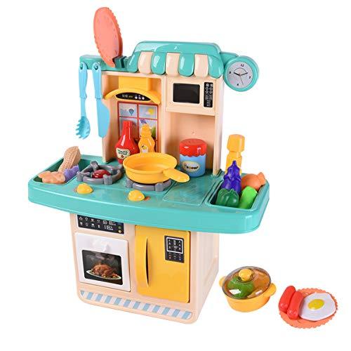 おままごと キッチンセット ごっこ遊び おもちゃ 調理器具 台所 組立式 煮音 ライト 水循環 野菜 調味料 GYBBER&MUMU 31点