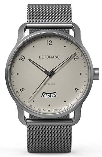 DETOMASO VIAGGIO Automatic Ivory Herren-Armbanduhr Analog Quarz Mesh Milanese Uhren-Armband Grau