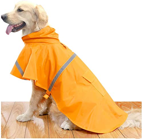 ZPP Haustier-Regenmantel / Rettungswesten für Hunde, wasserdicht, verstellbar, aus Polyester, leicht, sicher, reflektierender Streifen, rutschfest, winddicht, schneefest, Größe M, Orange