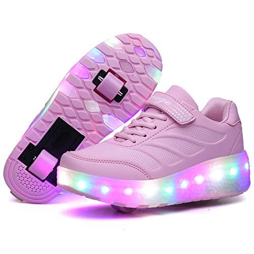 Recollect Kinder LED Schuhe mit Rollen Drucktaste Einstellbare Skateboardschuhe 1Räder/2 Räder Outdoor Gymnastik Turnschuhe Für Junge Mädchen,Pink 2,37 EU