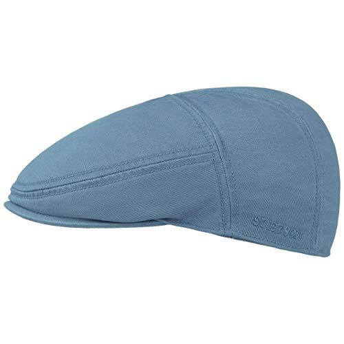 Stetson Paradise Cotton Schirmmütze hell-blau Herren - Flatcap mit UV-Schutz 40+ - Herrenmütze aus Baumwolle - Flat Cap Größen M 56-57 cm - Schiebermütze Sommer/Winter