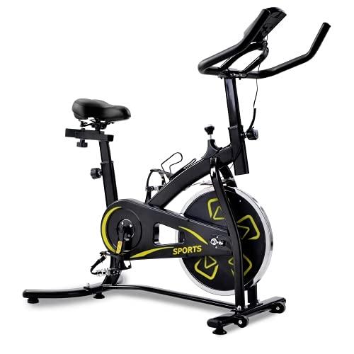 Bicicleta estática para interiores con consola LCD, cómodo cojín de asiento para entrenamiento cardiovascular, asiento ajustable y manillar (amarillo + acero inoxidable)