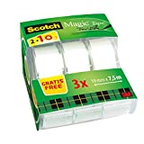 Scotch Magic Cinta Adhesiva Invisible - 2 Rollos de 19mm x 7,5m + 1 GRATIS - Cinta Adhesiva de Uso General para Reparacin, Etiquetado y Sellado de Paquetes y Documentos