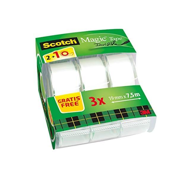 Scotch Magic – Cinta adhesiva transparente (19 mm x 7.5 m, 3 unidades),
