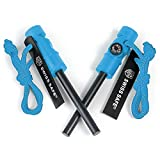Swiss Safe 5-in-1 Fire Starter with Compass, Paracord and Whistle (2-Pack) for Emergency Survival...